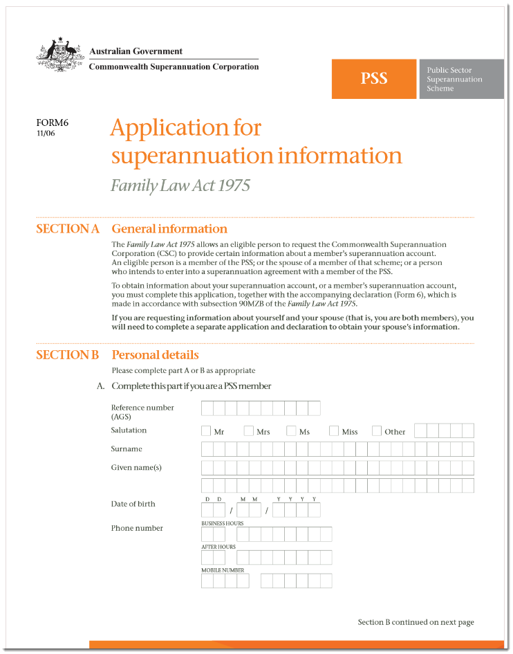 Superannuation information form 6 for family law valuation mail solutioingenieria Choice Image